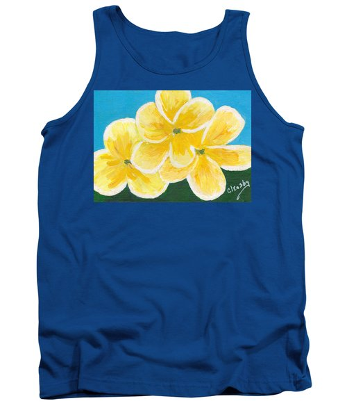 Three Flowers On Blue Tank Top by Patricia Cleasby