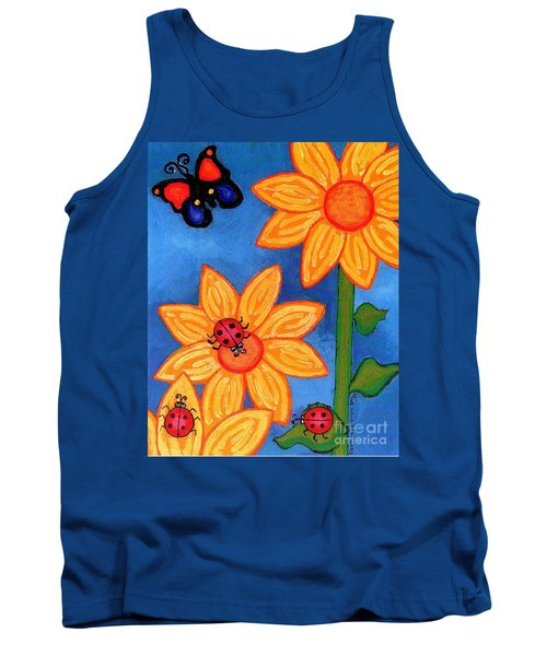 Three Ladybugs And Butterfly Tank Top by Genevieve Esson
