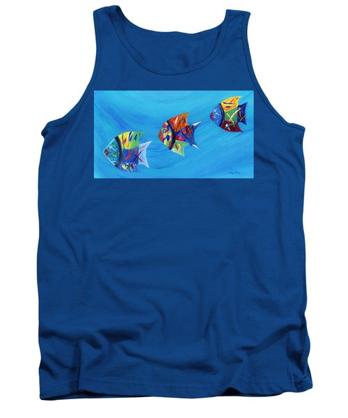 Tank Top featuring the painting Three Little Fishy's by Jamie Frier
