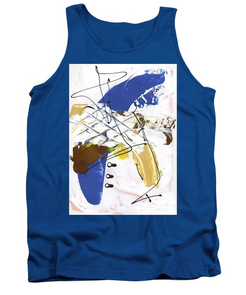 Tank Top featuring the painting Three Color Palette Blue 3 by Michal Mitak Mahgerefteh