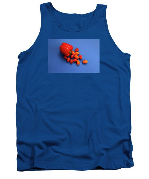 Tomatoes And Capsicum On Blue Tank Top