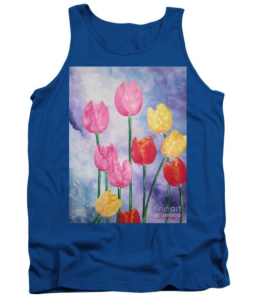 Ten  Simple  Tulips  Pink Red Yellow                                Flying Lamb Productions   Tank Top
