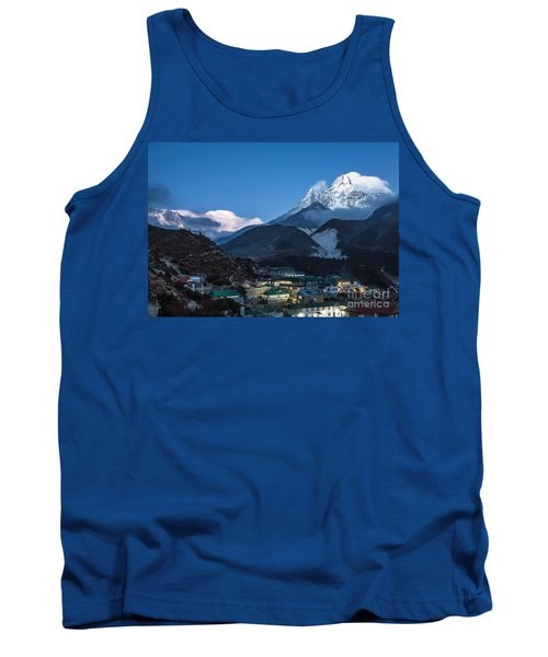 Twilight Over Pangboche In Nepal Tank Top