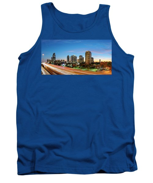 Twilight Panorama Of Uptown Houston Business District And Galleria Area Skyline Harris County Texas Tank Top