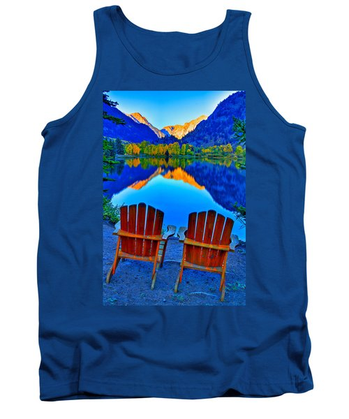 Two Chairs In Paradise Tank Top by Scott Mahon