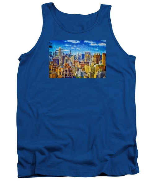 Tank Top featuring the digital art Upper Eastside Skyline by Kai Saarto