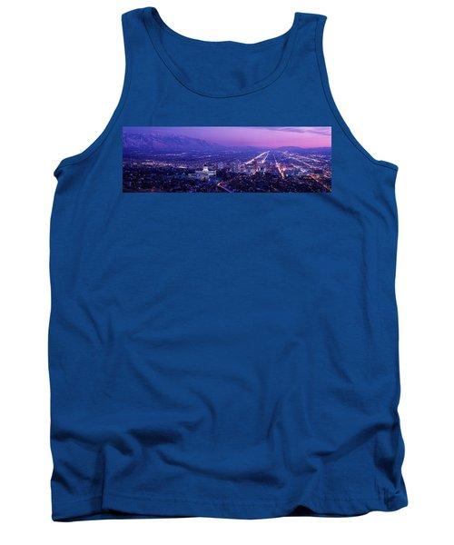 Usa, Utah, Salt Lake City, Aerial, Night Tank Top