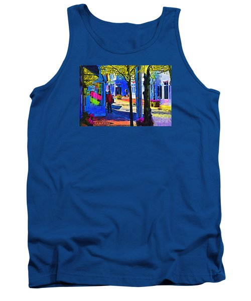 Tank Top featuring the digital art Village Shopping by Kirt Tisdale