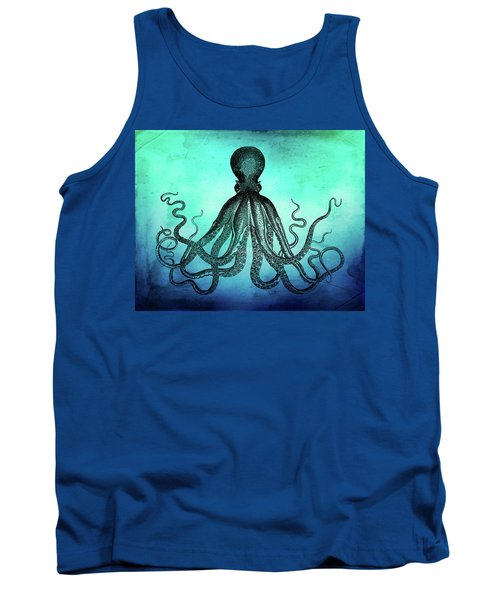 Vintage Octopus On Blue Green Watercolor Tank Top