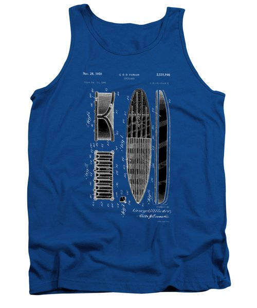 Tank Top featuring the photograph Vintage Surf Board Patent 1950 by Bill Cannon