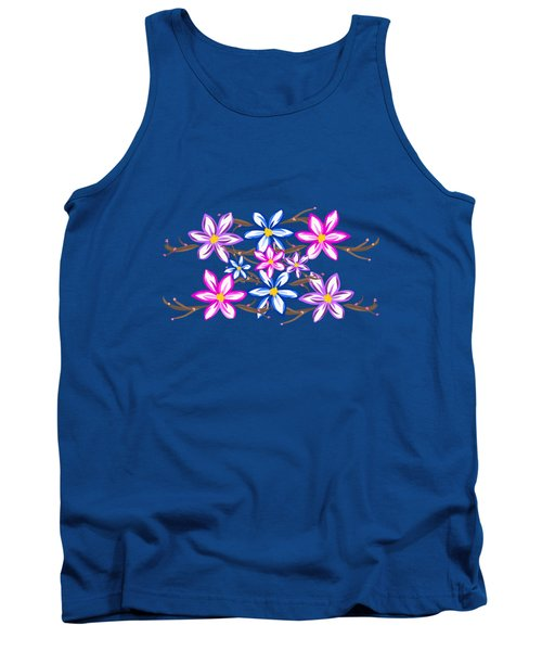 Violet Stripes With Flowers Tank Top