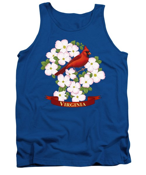 Virginia State Bird Cardinal And Flowering Dogwood Tank Top