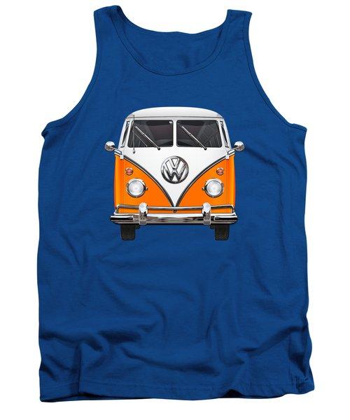 Volkswagen Type - Orange And White Volkswagen T 1 Samba Bus Over Blue Canvas Tank Top