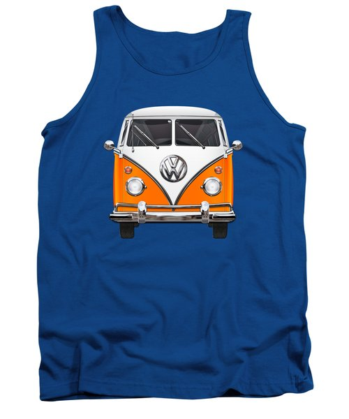 Volkswagen Type - Orange And White Volkswagen T 1 Samba Bus Over Blue Canvas Tank Top