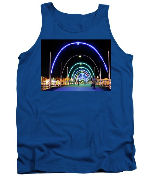 Tank Top featuring the photograph Walk Along The Floating Bridge, Willemstad, Curacao by Kurt Van Wagner