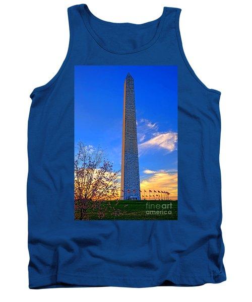Washington Monument And Cherry Tree  Tank Top
