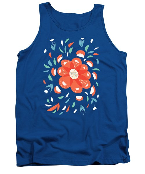 Whimsical Red Flower Tank Top