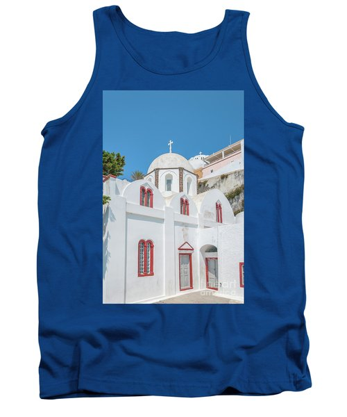 Tank Top featuring the photograph White Church At Fira by Antony McAulay