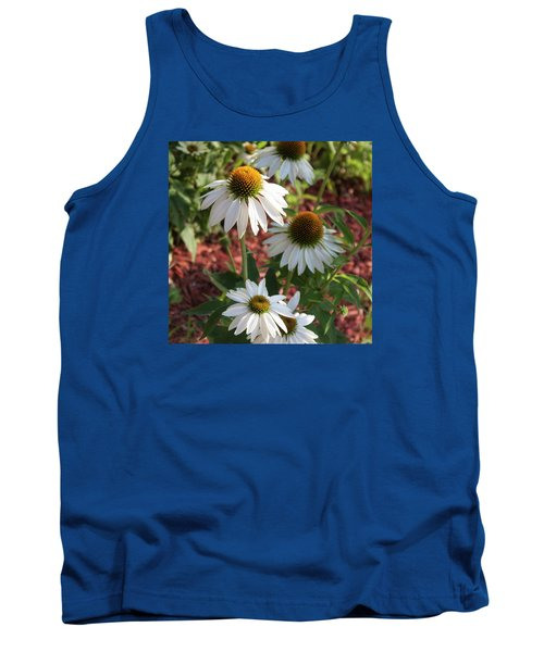 White Echinacea In Pastel Tank Top by Suzanne Gaff