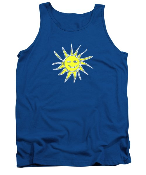 white lines on transparent background - detailv3-10.3.Islands-1-detail-Sun-with-smile Tank Top