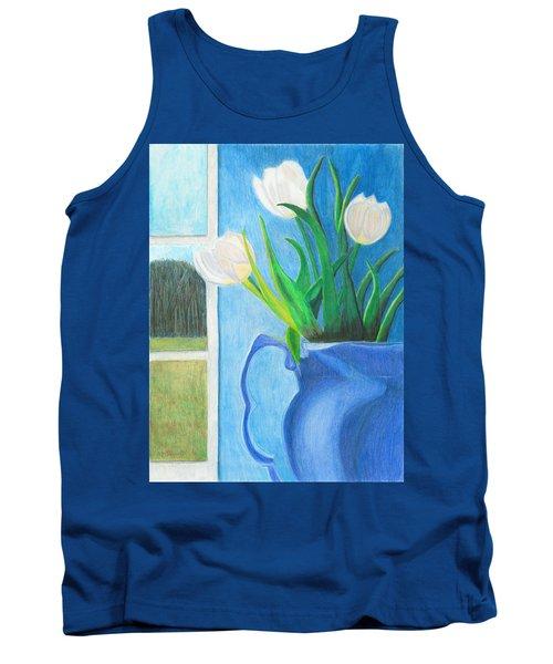 White Tulips Tank Top by Arlene Crafton