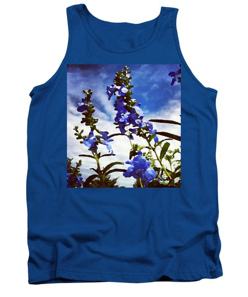 Tank Top featuring the digital art Wild Blue Sage  by Shelli Fitzpatrick