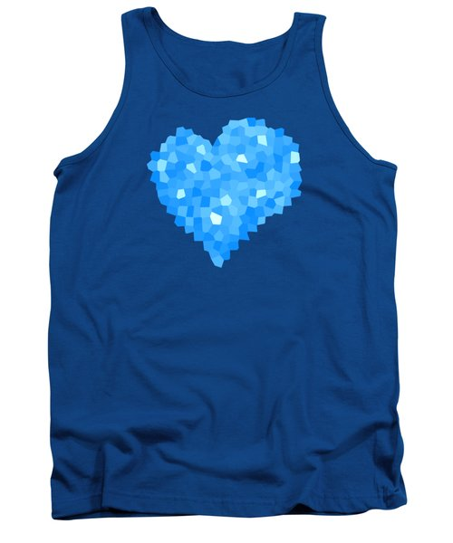 Winter Blue Crystal Heart Tank Top