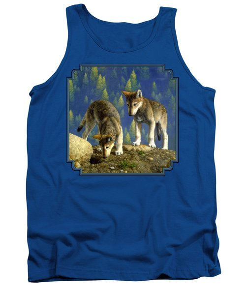 Wolf Pups - Anybody Home Tank Top by Crista Forest