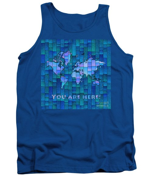 World Map Glasa You Are Here In Blue Tank Top