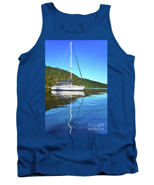 Tank Top featuring the photograph Yacht Reflecting By Kaye Menner by Kaye Menner