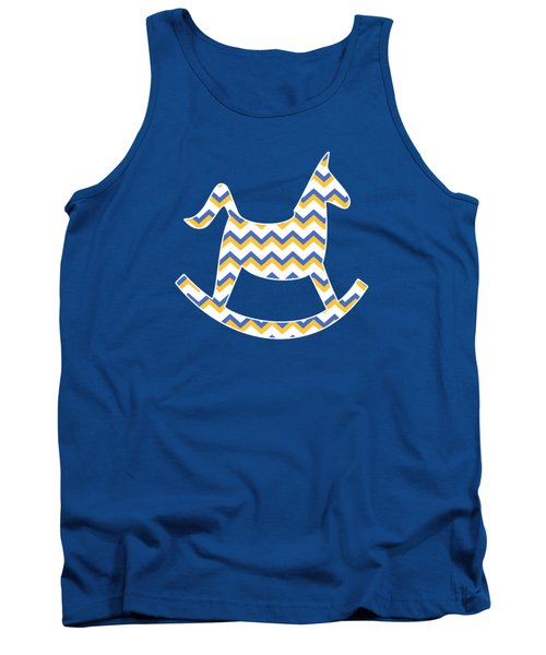 Yellow Blue Chevron Pattern Tank Top