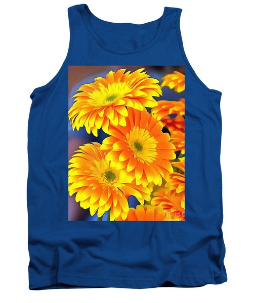 Yellow Flowers In Thick Paint Tank Top