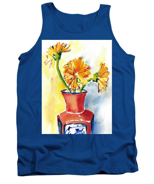 Yellow Gerbera Daisies In A Red And Blue Delft Vase Tank Top