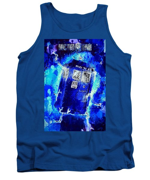 Tank Top featuring the mixed media Doctor Who Tardis by Al Matra