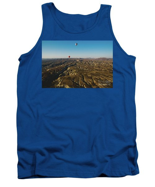Colorful Balloons Flying Over Mountains And With Blue Sky Tank Top