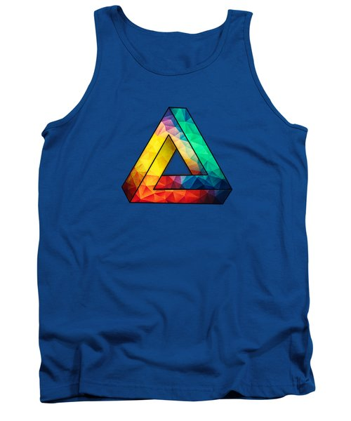 Abstract Polygon Multi Color Cubism Low Poly Triangle Design Tank Top