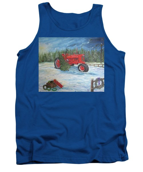 Antique Tractor At The Christmas Tree Farm Tank Top