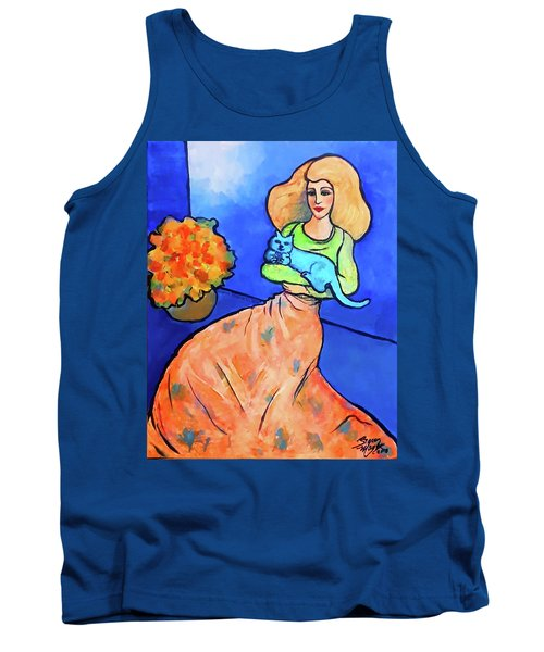 Lady With Blue Cat Tank Top