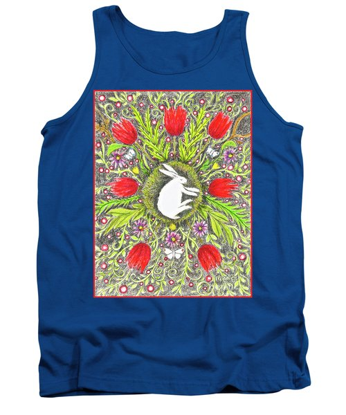 Bunny Nest With Red Flowers And White Butterflies Tank Top