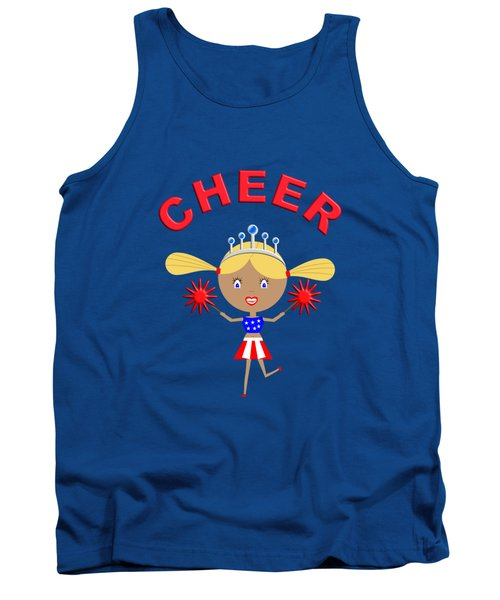 Cheerleader With Pom Poms And Cheer In Arched Text  Tank Top