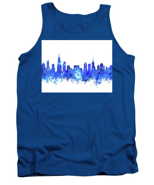 Chicago Skyline Watercolor Blue Tank Top