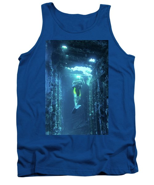 Diver In The Patris Shipwreck Tank Top