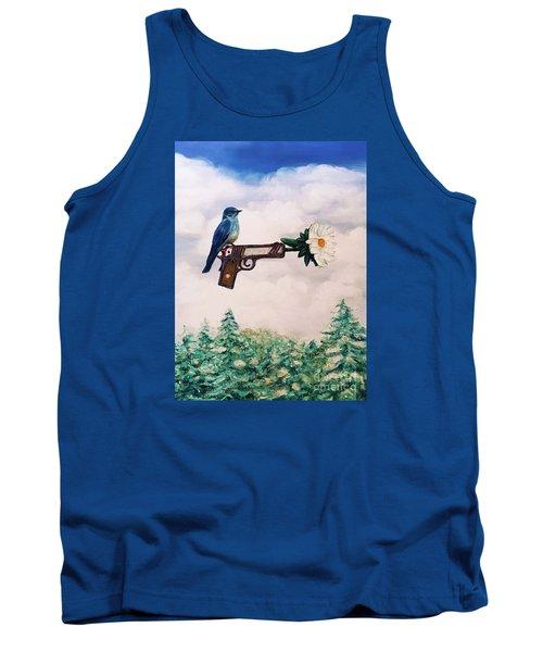 Flower In A Gun- Bluebird Of Happiness Tank Top