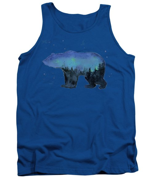 Forest Bear Watercolor Galaxy Tank Top
