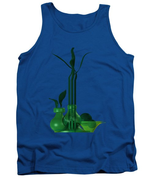 Tank Top featuring the digital art Green Still Life With Cool Elements by Alberto RuiZ