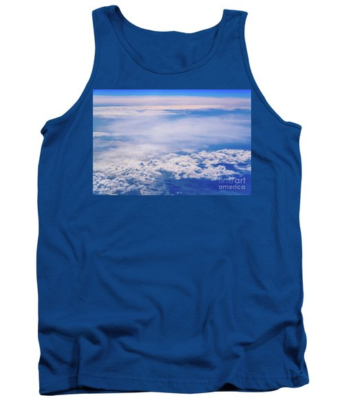 Intense Blue Sky With White Clouds And Plane Crossing It, Seen From Above In Another Plane. Tank Top