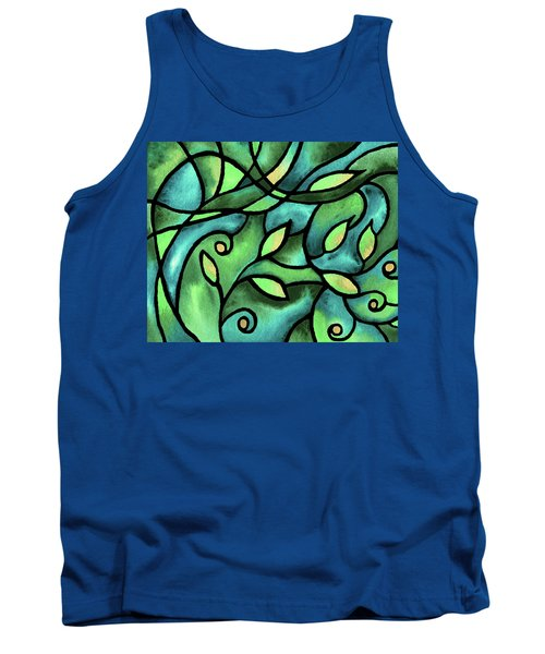 Leaves And Curves Art Nouveau Style V Tank Top