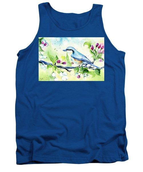 Little Blue Spring Bird Tank Top