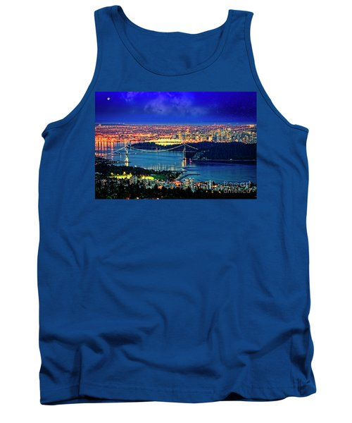 Tank Top featuring the photograph Moon Over Vancouver by Scott Kemper