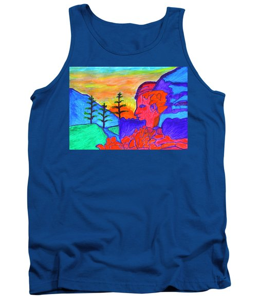 Mystical Rock With A Profile At Sunrise Tank Top